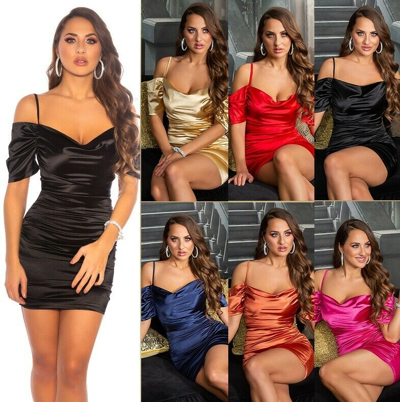 Koucla Off-Shoulder Damen Kleid Party Satin Look Minikleid