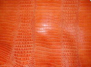 Vinyl Faux Fake Leather Fabric Upholstery Crocodile Nile Orange