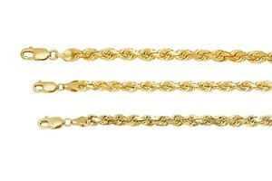 """Solid 10k Yellow Gold 2mm-3mm Diamond Cut Rope Chain Pendant Necklace Sz 16/""""-30/"""""""