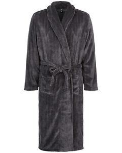 Mens-Super-Soft-Luxury-Fleece-Dressing-Gown-Robe-Charcoal-Grey-Size-L-XXXL-G2