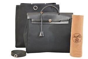 HERMES-Her-Bag-MM-Black-Shoulder-Bag-With-Strap-F02311