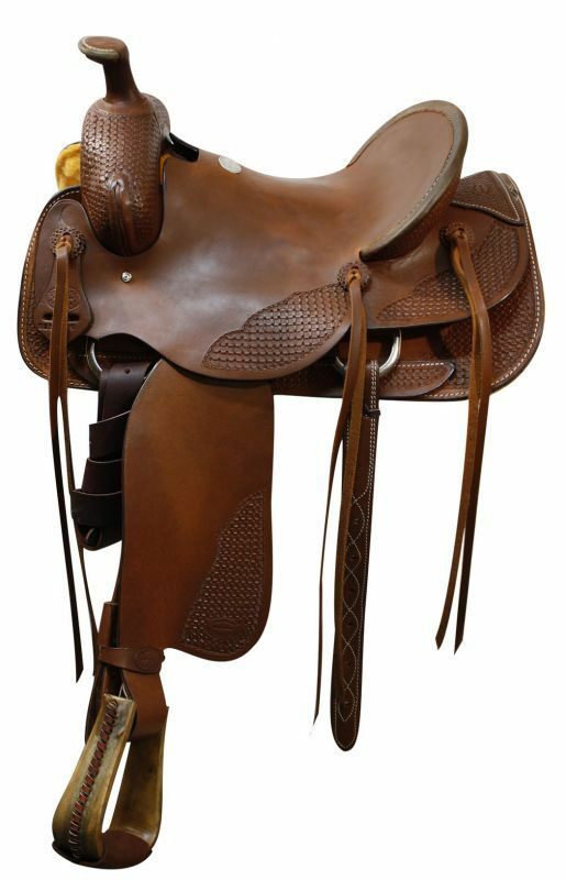 Showman ROPING SADDLE Basket Weave Tooled  16  Hardseat WARRANTIED for Roping  cheap and fashion