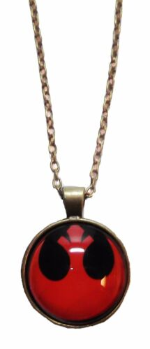 """Star Wars RED REBEL ALLIANCE Glass-Domed PENDANT on 18/"""" Chain"""