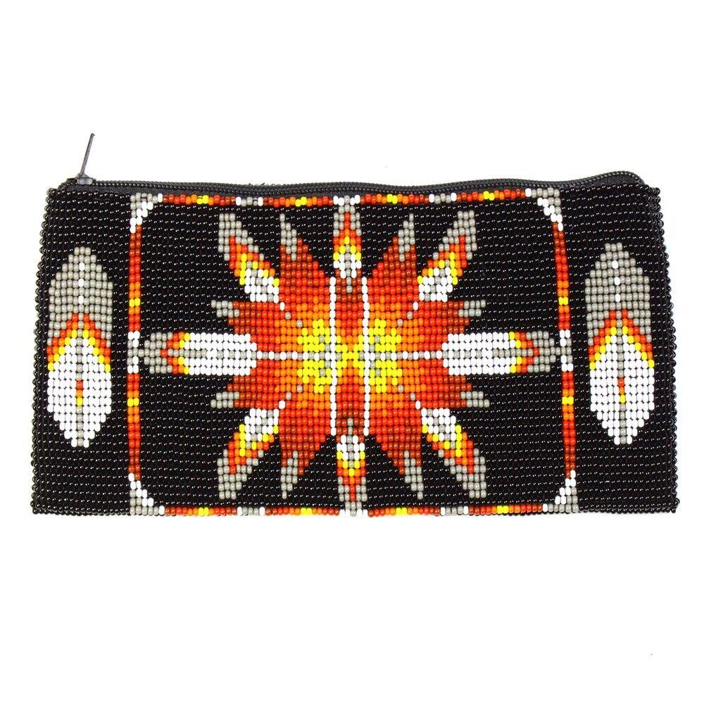 BG111-200 Long Coin Purse Wallet Bag Hand Beaded Native Sunburst Design Black