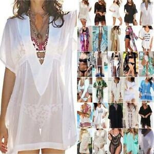 Damen Boho Bikini Cover Up Vertuschung Kimono Bademode Freizeit Strandkleidung