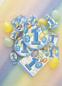 First-Birthday-1st-Party-Baby-Boy-Tableware-Partyware-Decorations-Balloons