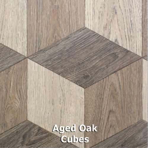 Aged Oak CubesModern Wood Style Vinyl Flooring2m 3m 4m Wide x Any Length!