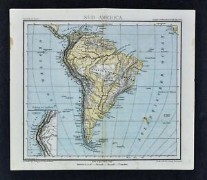 1875 Lange Map - South America Physical - Andes Amazon ...