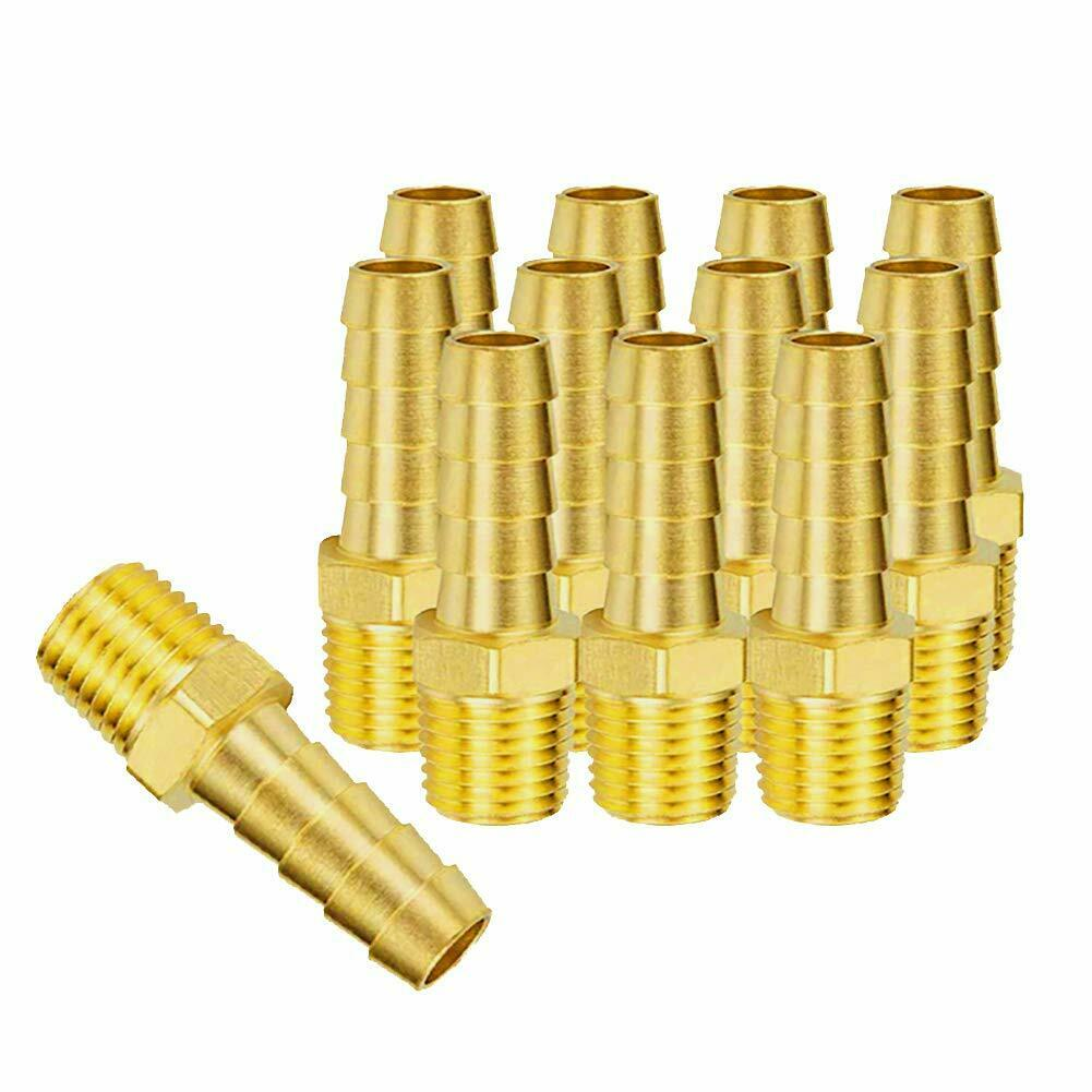 Brass Barb Hose Fitting Hose Barb Adapter Male Threaded End Brass Hose Fitting Hose Barb Fittings 3//8 Barb x 1//8 MNPT Pipe Adapter with 8 Pcs Hose Clamp,Pipe Fittings 8 PCS Air Hose Fittings