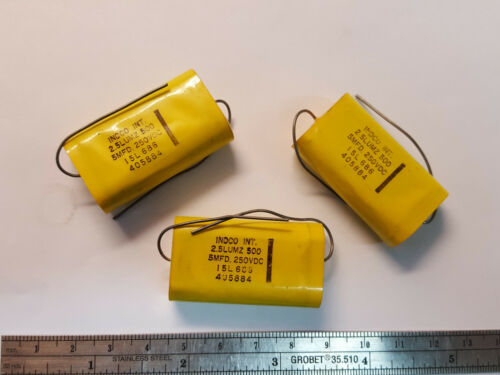 FREE SHIP INDCO INT 5uf 250v 2.5LUMZ 500 AXIAL 40mm x 22mm NOS LOT of 2 pieces
