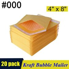 20pcs 000 4x8 Kraft Bubble Mailers Padded Self Seal Shipping Bags Envelopes