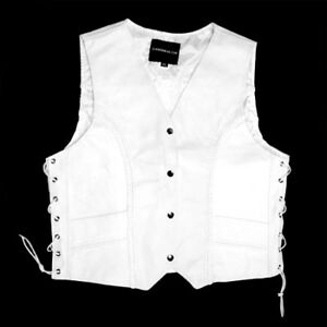Women Motorcycle Vest White Leather