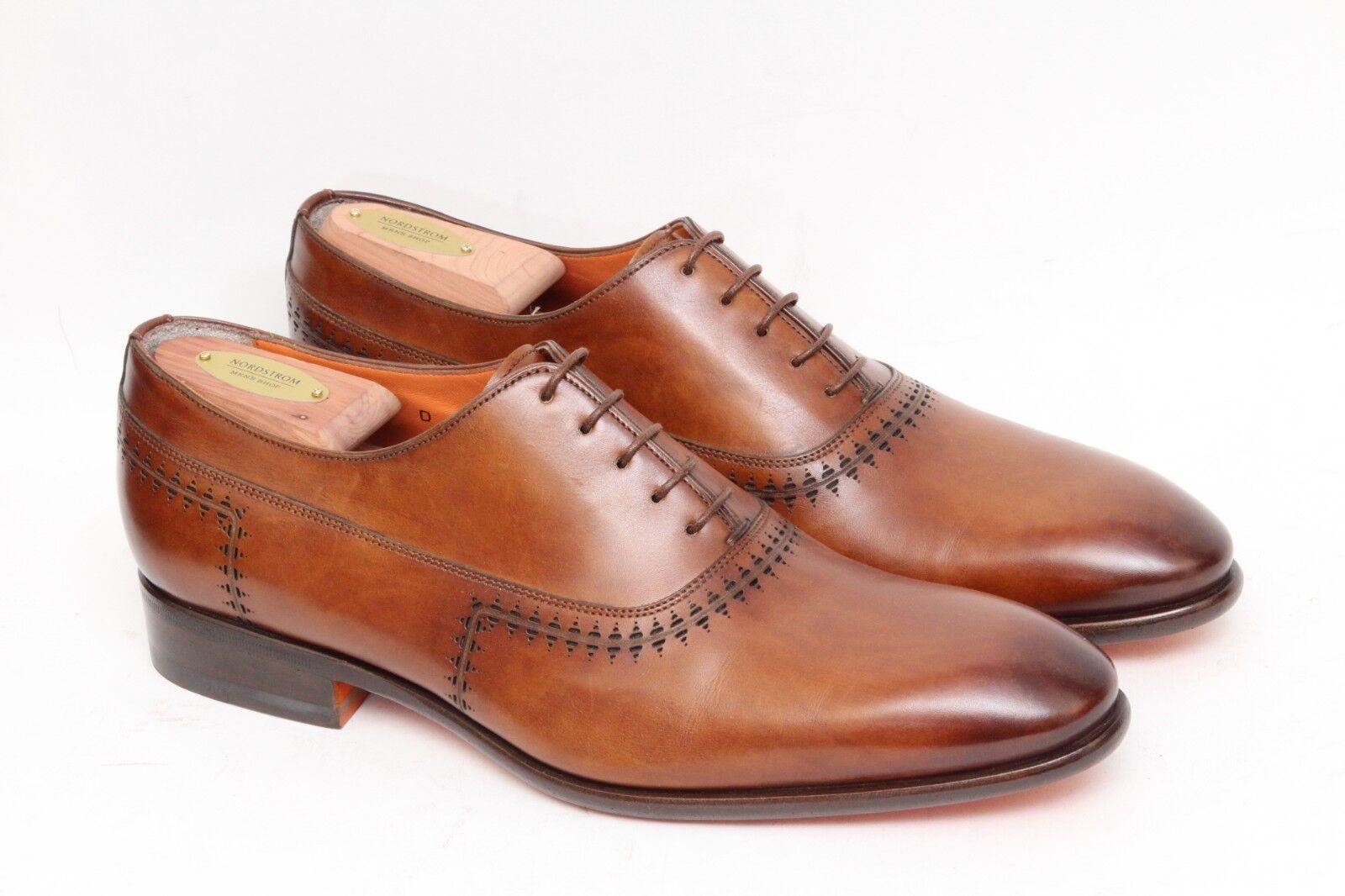 Santoni Brown Leather Fatte a Mano Brogue Wholecut Oxford new shoes Mens shoes Sz 9