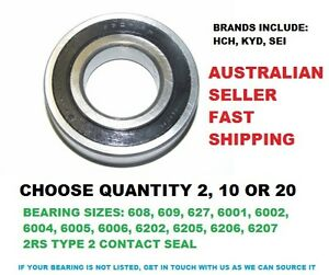 QTY 2/10/20 PCE SEI 2NSE 2RS 2 CONTACT RUBBER SEAL TYPE DEEP GROOVE BALL BEARING