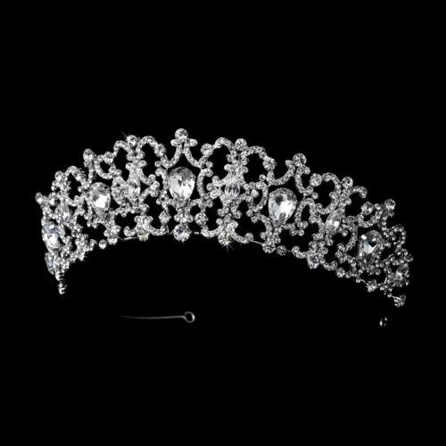 Antique Silver Clear Rhinestone Crystal Wedding Prom Bridal Princess Tiara Crown