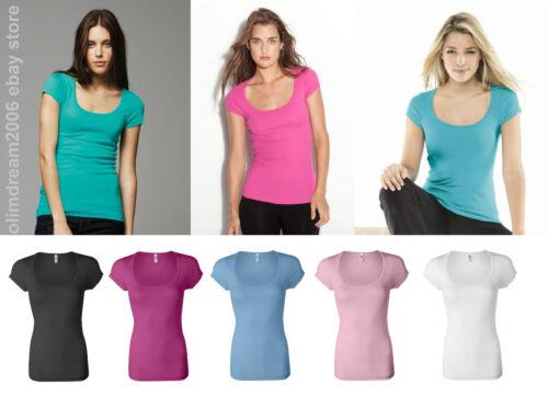 Ladies/' Sheer Mini Rib Scoopneck T-Shirt Bella 8703 S M L XL /& 2XL