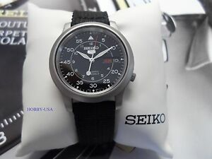 Seiko 5 Snk809 Stainless Steel Black Canvas Strap Seiko Automatic