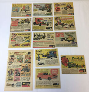 Lote-Coleccion-de-12-Monogram-Hot-Rod-Kit-Modelismo-Cartoon-Ads-Plus-Dos-Mas