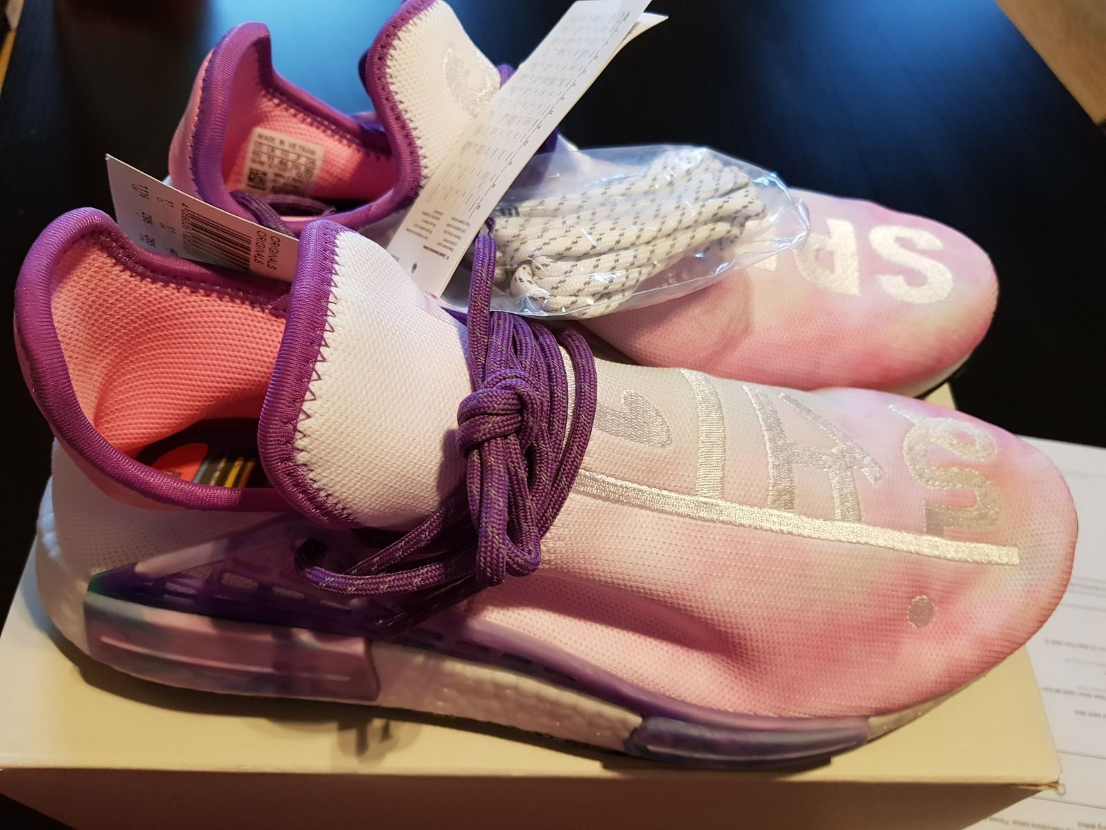 "Adidas x Pharrell Williams Human Race NMD ""Holi"" Pink glow size 11uk"