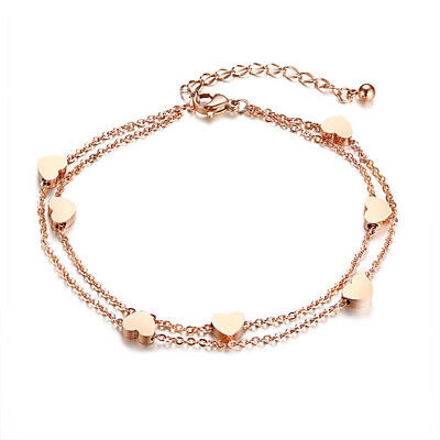 Doppel Armband / Fußkettchen Herzen Edelstahl 316l Rosegold Damen Fußkette