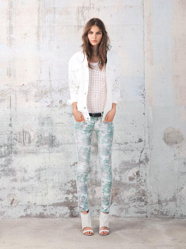 IRO Green Damia Camoprint Skinny  Jeans  camouflage   324  size 27