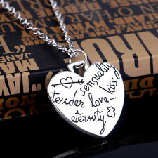 Lovely Charm Heart Silver Chain Pendant Necklace Jewelry Good Gift For Wife Mum
