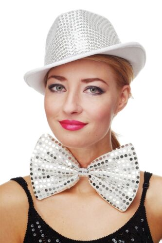 Clown Bow Tie Large Crown Fly Bowtie White Glitter Sequins Giant Bow Tie VQ-029