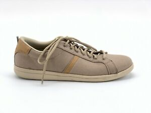 Crocs-Mens-Torino-Lace-Up-Shoe-Sneakers-Beige-10-Canvas-Leather-Trim-Comfort