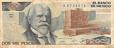 Kind-Hearted México 2000 Pesos 24.2.1987 Series Br Prefix A Circulated Banknote Year-End Bargain Sale Paper Money: World North & Central America