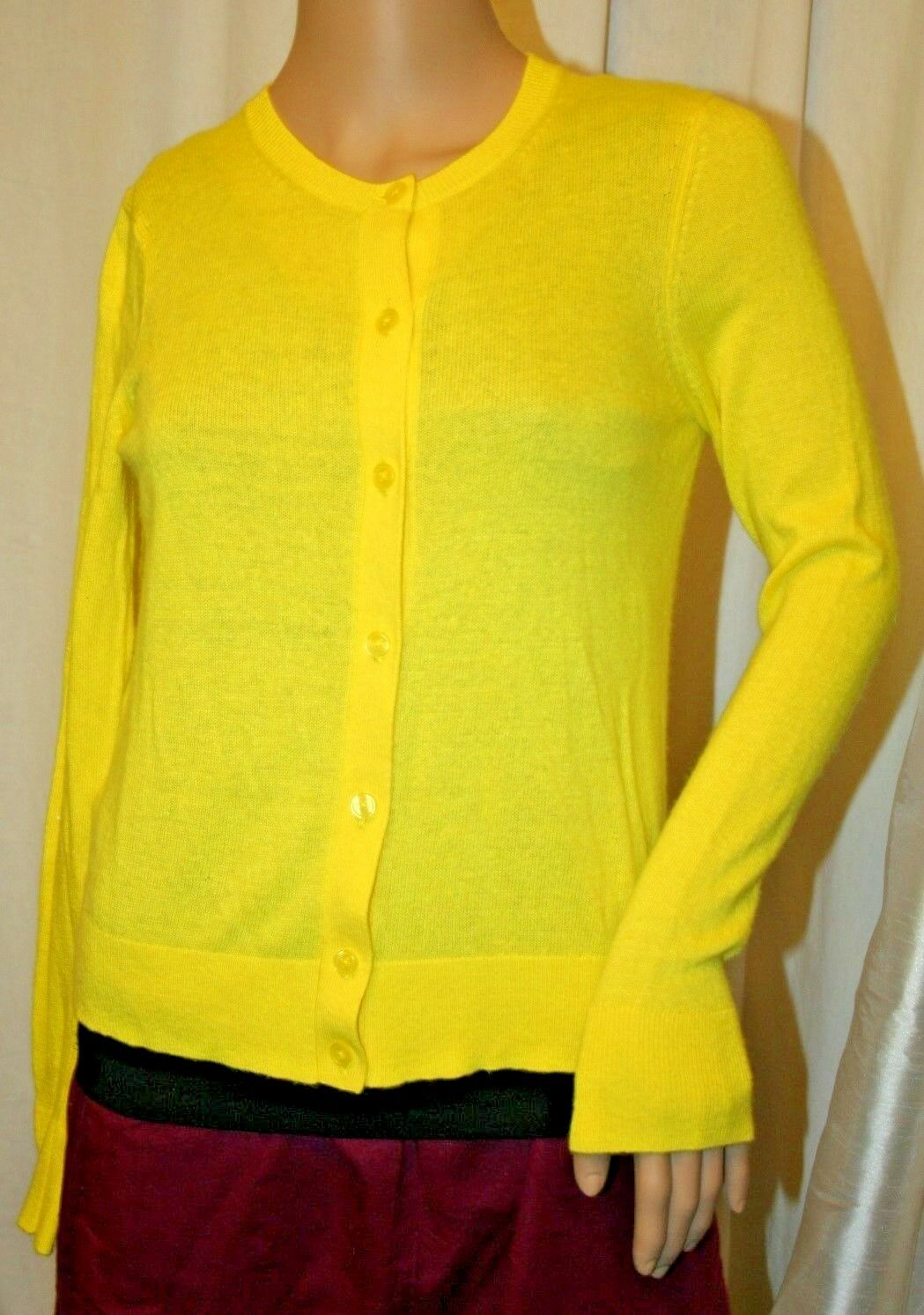 ANN TAYLOR BUTTON UP CARDIGAN LONG SLEEVE YELLOW SHRUG COVER UP S