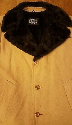 Vtg., Great Western, Wool Jacket with Faux Fur Collar/Interior 1960s (Size 46L)