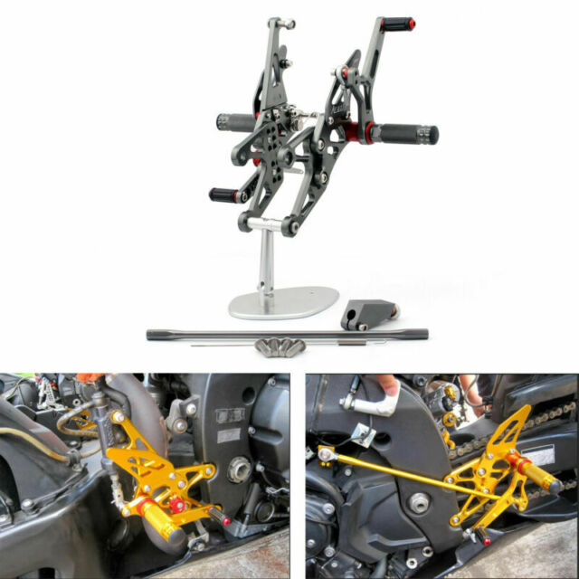 Commandes reculées Rearset Foot pegs Pour Yamaha R1 2007-2008 Gray A