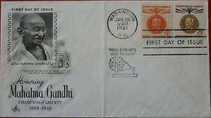 1961 FDC WASHINGTON MAHATMA GANDHI Stamp timbre Yvert Yt :US 709 710