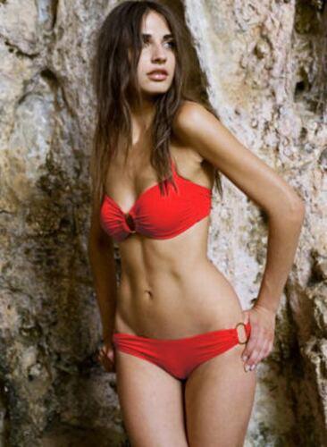 Arruffato Bandeau TIE Bikini Set Swimwear Rosso Marrone Bianco Nero Rosa ** CHEAP **