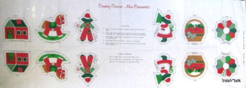 Vintage 70s Christmas Ornament Fabric Panel Calico Sunbonnet Sue Apple Basket