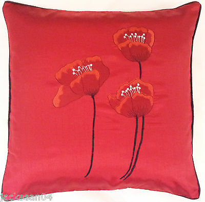 """2 X FILLED POPPY RED BLACK FAUX SILK FLORAL POPPY 22"""" EMBROIDERED CUSHIONS"""