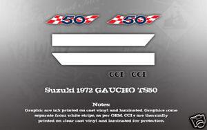 SUZUKI 1972 TS50 GAUCHO SIDE COVER DECALS GRAPHICS