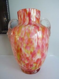 Vintage Czech Pink Opalescent Cased Glass Double Handle Vase