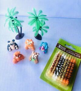 7 Piece 3D Jungle Theme Edible Cake Kit - Plus Bonus 16 Pack of Jungle Candles!