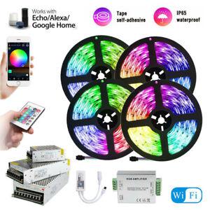 5m 20M WIFI RGB LED Strip waterproof 5050 SMD Diode Tape light remote power Kit