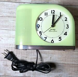 Westclox Big Ben Moon Beam Lighted Alarm Clock Jade Green Tested Works