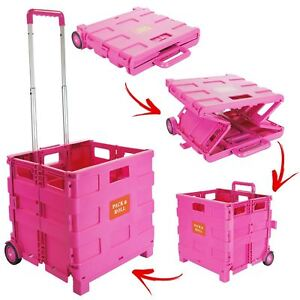New Pink 25kg Folding Trolley Car Van Storage Box Crate Camping Boot Shopping