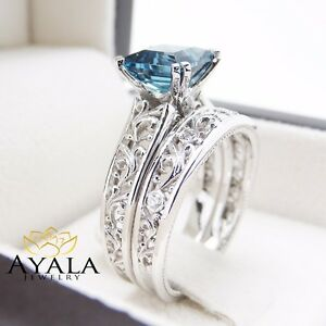 London Blue Topaz Engagement Ring Set Princess Cut Topaz Set In 14k