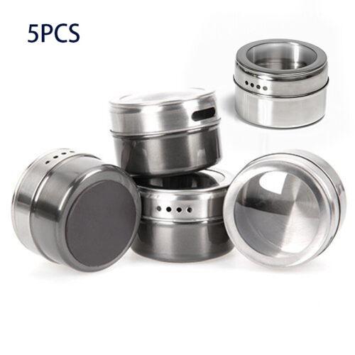 Set Of 5x Magnetische Gewürzdosen Edelstahl Vorratsbehälter Gläser Deckel