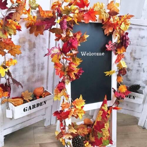 2Pcs Outono Artificial Folhas De Maple Guirlanda De Parede Plantas Decoração Festa Quarto Pendurado