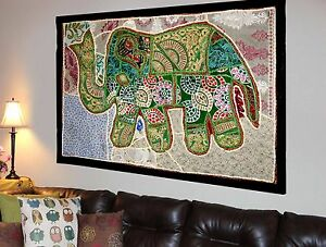 HANDMADE-ELEPHANT-BOHEMIAN-PATCHWORK-WALL-HANGING-EMBROIDERED-TAPESTRY-INDIA-X28