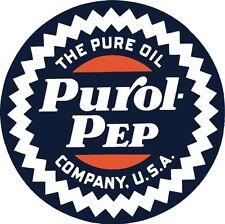 Purop pep oil pure gas garage man cave vintage rep round sign
