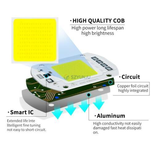 COB LED lamp 220V 110V LED Blue 10W 20W 30W 50W smart IC Diy Flood Light Bulb