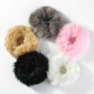 2PCS Elastic Fluffy Faux Fur Scrunchie Hair Ring Rope Band Girls Headwear