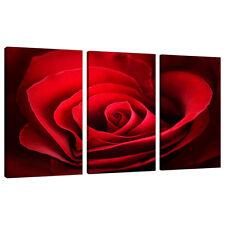 Split Canvas 3 Piece Red Rose Multi Panel Triple Part Flowers 3044